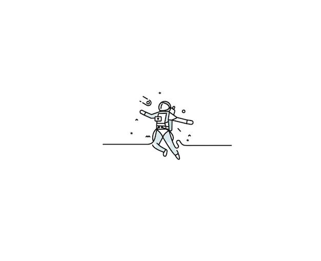 宇宙飛行士が宇宙に落ちる-フラットラインアートデザインイラスト。
