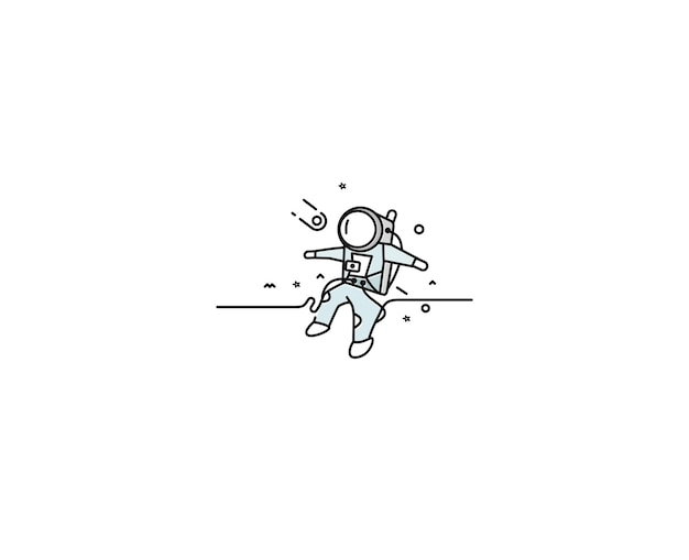 Astronaut falling down in a space - flat line art design illustration.