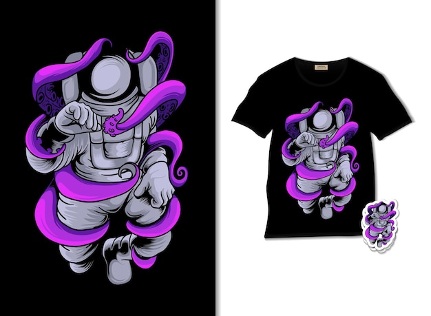 Astronaut fighting octopus illustration with t shirt design