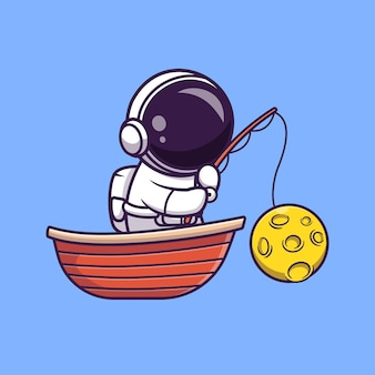Astronaut fishing moon on boat cartoon   illustration. science holiday  concept isolated  . flat cartoon style