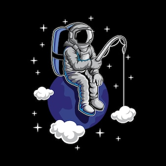 Astronaut fishing in space illustration
