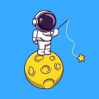 Астронавт рыбалка звезда на луне мультфильм векторные иллюстрации значок. концепция значок технологии науки изолированные premium векторы. плоский мультяшном стиле