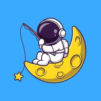 月の宇宙飛行士釣りスター漫画ベクトルアイコンイラスト。科学技術アイコンの概念分離プレミアムベクトル。フラット漫画スタイル