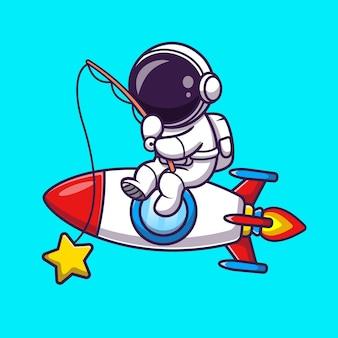 Astronaut fishing star on rocket cartoon vector icon illustration. science technology icon concept isolated premium vector. flat cartoon style
