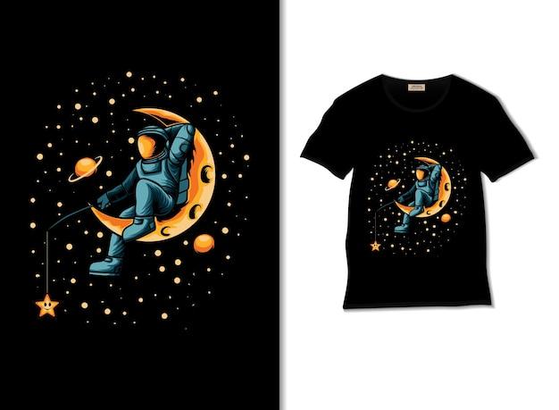 Tシャツのデザインと宇宙飛行士の釣りの星のイラスト