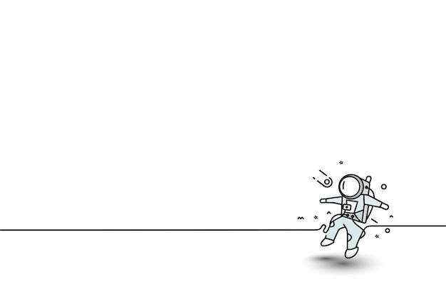 Astronaut flat line art design illustration.