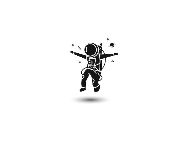 Astronaut flat line art design illustration. Premium Vector