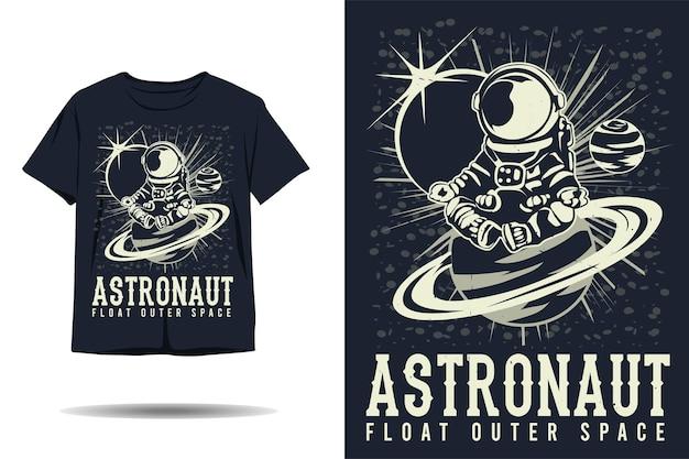 우주 비행사 플로트 우주 공간 실루엣 tshirt 디자인