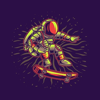 Astronaut floating in the air on a skateboard illustration