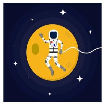 Астронавт, плавающий в концепции дизайна квартиры космического пространства Premium векторы