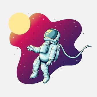 銀河で宇宙空間に浮かぶ宇宙飛行士