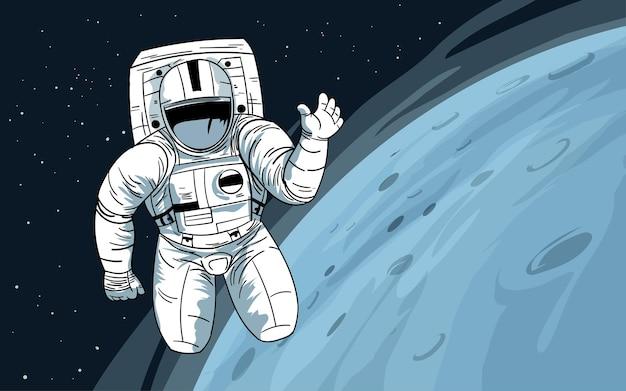 Астронавт, плывущий в космосе возле луны