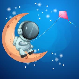 Астронавт плывет по луне с воздушными змеями.
