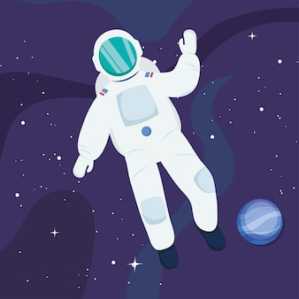 Astronaut floating and neptun planet
