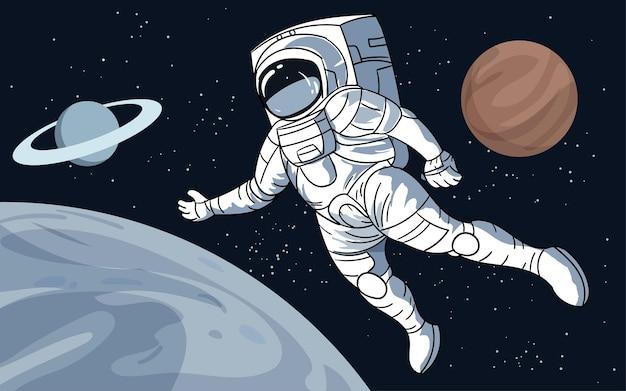 Астронавт, плывущий над луной с планетами и звездами