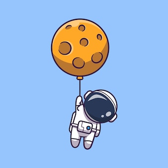 Astronaut floating with moon   icon illustration. spaceman mascot cartoon character. science icon concept isolated