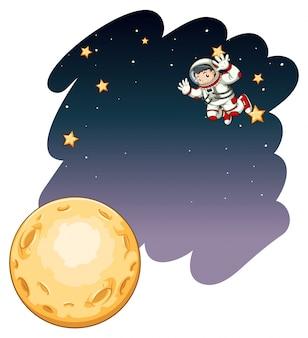 Astronaut flying in dark space