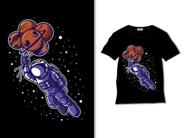티셔츠 디자인으로 우주 삽화를 비행하는 우주 비행사