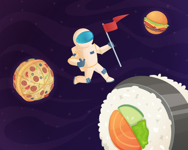 Astronaut on food planet, fantasy space world with candy fast food burger pizza and various sweets stars fantastic sky background