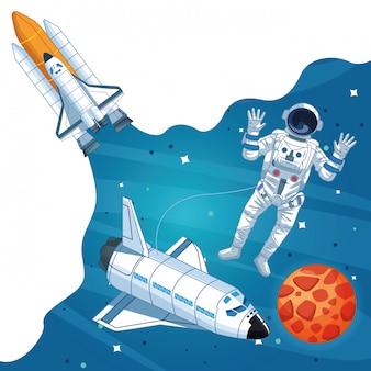 Astronaut in the galaxy cartoon