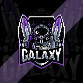 Astronaut galaxy mascot logo esport design