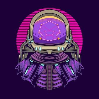 宇宙飛行士のジオメトリのイラストデザイン