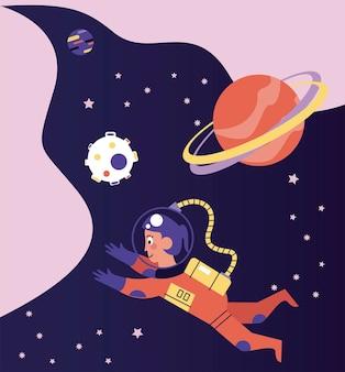 宇宙シーンイラストに浮かぶ宇宙飛行士の女の子