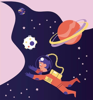 Astronaut girl floating in the space scene illustration