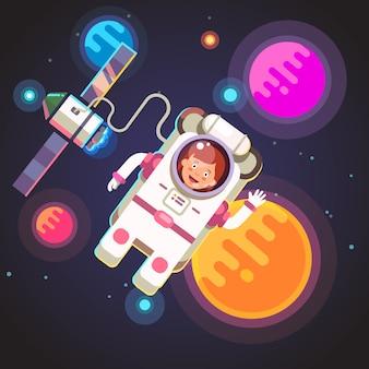 Девушка-космонавт, летящая в космосе