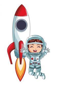 Astronaut girl jumping rocket