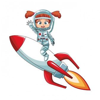 Девушка-космонавт на космическом корабле
