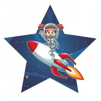 Astronaut girl on spaceship