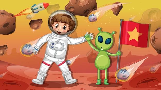 우주 장면에서 소행성에 외계인이 서 있는 우주 비행사 소녀