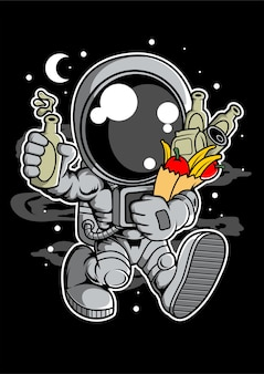 Astronaut grocery cartoon character
