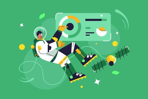 우주복에서 무중력 비행 우주 비행사 남자, 녹색 배경에 고립 된 제어판 가상 화면, 평면 그림