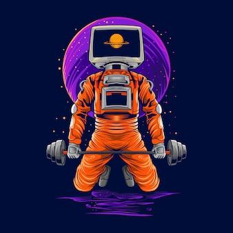 Astronaut gym on space   illustration