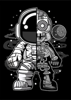 Astronaut half robot