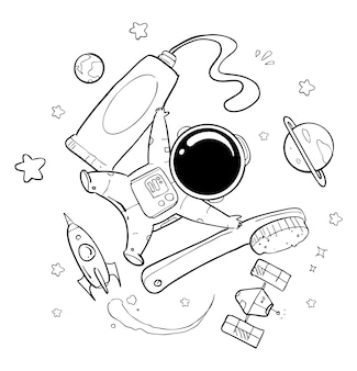 Astronaut hand drawn
