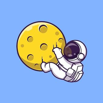 月にぶら下がっている宇宙飛行士漫画ベクトルアイコンイラスト。科学技術アイコンコンセプト分離プレミアムベクトル。フラット漫画スタイル