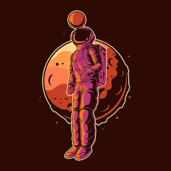 Astronaut heading a ball with moon on space