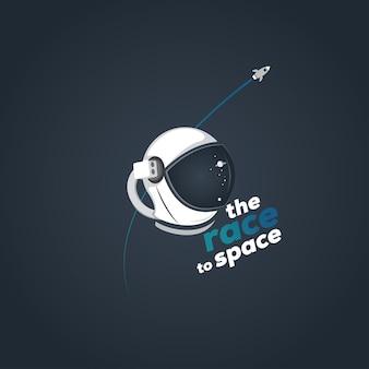 우주 비행사 헬멧과 행성