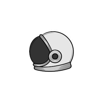 Изолированная иллюстрация значка шлема космонавта нарисованная рукой