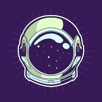 宇宙飛行士のヘルメットのイラストデザイン