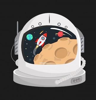 Astronaut helmet in a space
