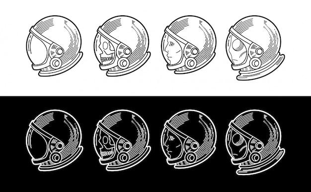 さまざまなバージョンの宇宙飛行士のヘルメット