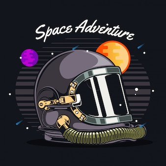 Astronaut helmet in space
