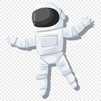 Astronaut in helmet and spacesuit illustration on transparent background