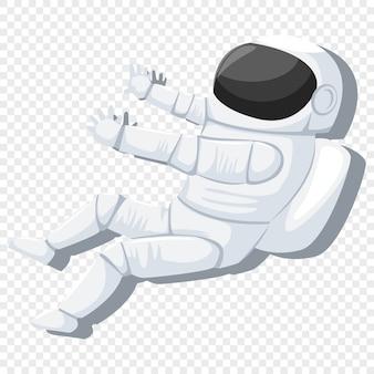 Astronaut in helmet and spacesuit in weightlessness.