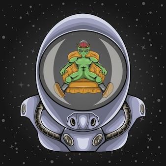 Astronaut helmet with alien illustration
