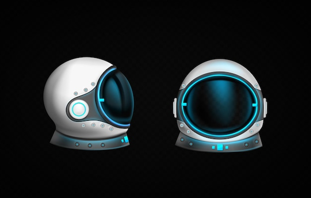 Astronaut helmet with clear glass and blue light in front and side view